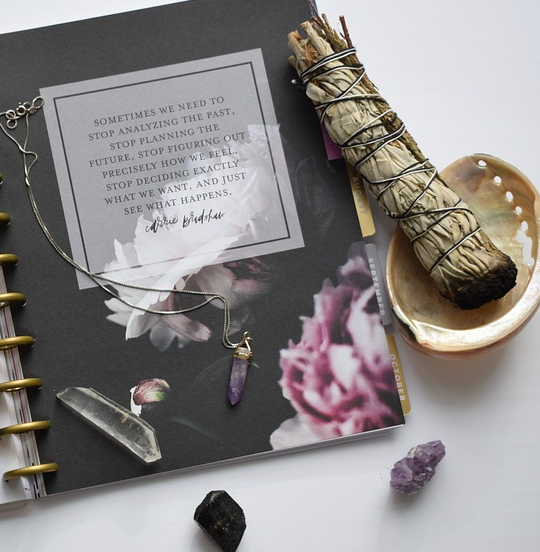crystal cleansing with sage