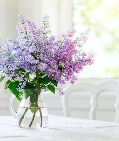 A bouquet of flowers in a vase on a table  Description automatically generated